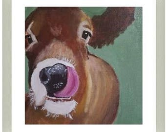 Framed Funny Farm Cow Art- Acrylic Painting - Clearance sale