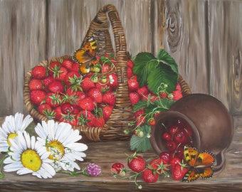 Berries Strawberries Cherries Fruit Painting Summertime Berries Original  Colorful Oil Painting Fruits And Berries Oil Paintings