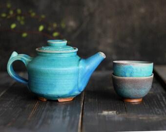 Japan pottery tea set for 2, Small teapot set, Japan teapot, Handmade ceramic teapot, Teapot with cup, Ceramic pot, Individual tea set