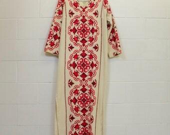 1960s African Tunic Dress, Rare Vintage Caftan, embroidered,  Ethnic Maxi dress, Festival Dress // 60s Boho Tribal Afropunk,