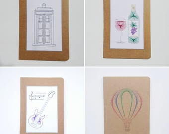 Decorated notebook, A5 notepad, Police Box, Wine, Guitar, Hot Air Balloon, Hand decorated notebook, Stocking filler, Birthday present