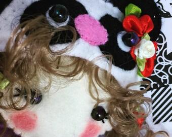 Panda felt Rag doll ragdoll  doll  Ooak cloth doll collectible handmade by Cobesco's Creations