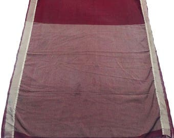 Indian Fabric Sari Vintage Used Craft Fabric Dress Material Maroon Home Decor Georgette Curtain Drape 5 YD Fabric Saree Wrap