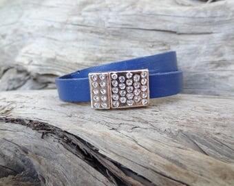 EXPRESS SHIPPING,Wrap Leather Bracelet,Dark Blue Bracelet,Cuff,Bangle Bracelet,Rose Gold Clasp Bracelet,Gifts for Her,Valentine's Day Gifts