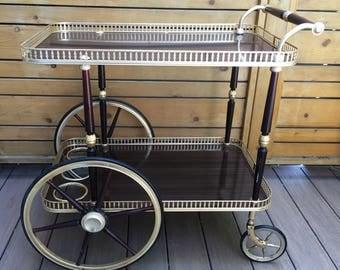 Stunning Mid century brass bar cart. Hollywod Regency Coctail serving cart. Mary PoppinsTea cart. 2 tier brass serving caddy. Hotel cart.