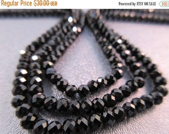 ON SALE 15% OFF Black Spinel Faceted Roundel 4mm Beads 112pcs