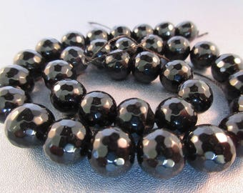 Black Onyx Faceted 12mm Round Beads 34pcs