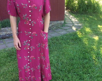 Vintage 1980s // Floral Duster // Short Sleeve Dress // floral dress // lightweight // size small