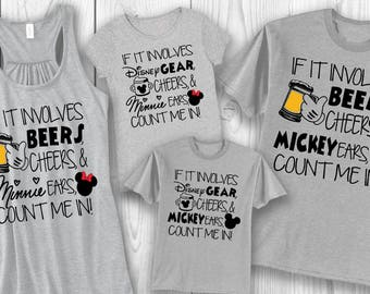 Beers, Cheers, and Mickey Ears/Disney Gear, Cheers, and Minnie Ears - EPCOT Family shirts