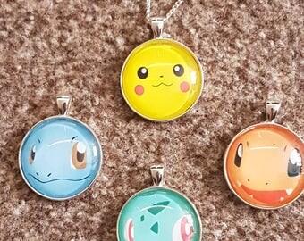 Pokémon necklace - Kanto Starters choose Pikachu, Charmander, Squirtle or Bulbasaur