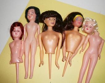 Vintage Half Dolls Plastic Dolls Repurpose Dolls Wilton Cakes Dime Store Dolls Set by VintageStudioSupply Free Shipping