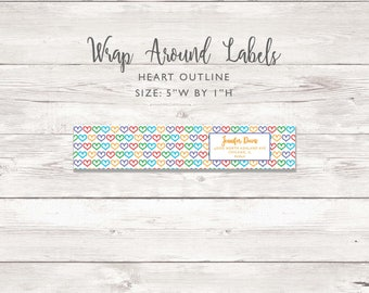 Wraparound Mailing Address Label - Heart Outline - Perfect for Rodan and Fields Consultants - Sticker - Heart Outline