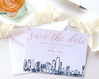 Dallas Skyline Save the Date Cards - A7 Size - Dallas Wedding Invitation Suite - Save the Date - PRINTED