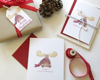 Merry Christmoose Holiday Card - Watercolor Moose - Watercolor Christmas - Moose with Scarf