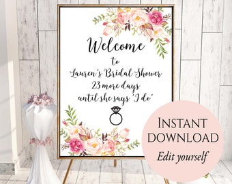 Welcome Sign Template, Welcome Bridal Shower Sign, Bridal Shower Decor, Editable Welcome Sign PDF, Welcome Sign For Bridal Shower Shower