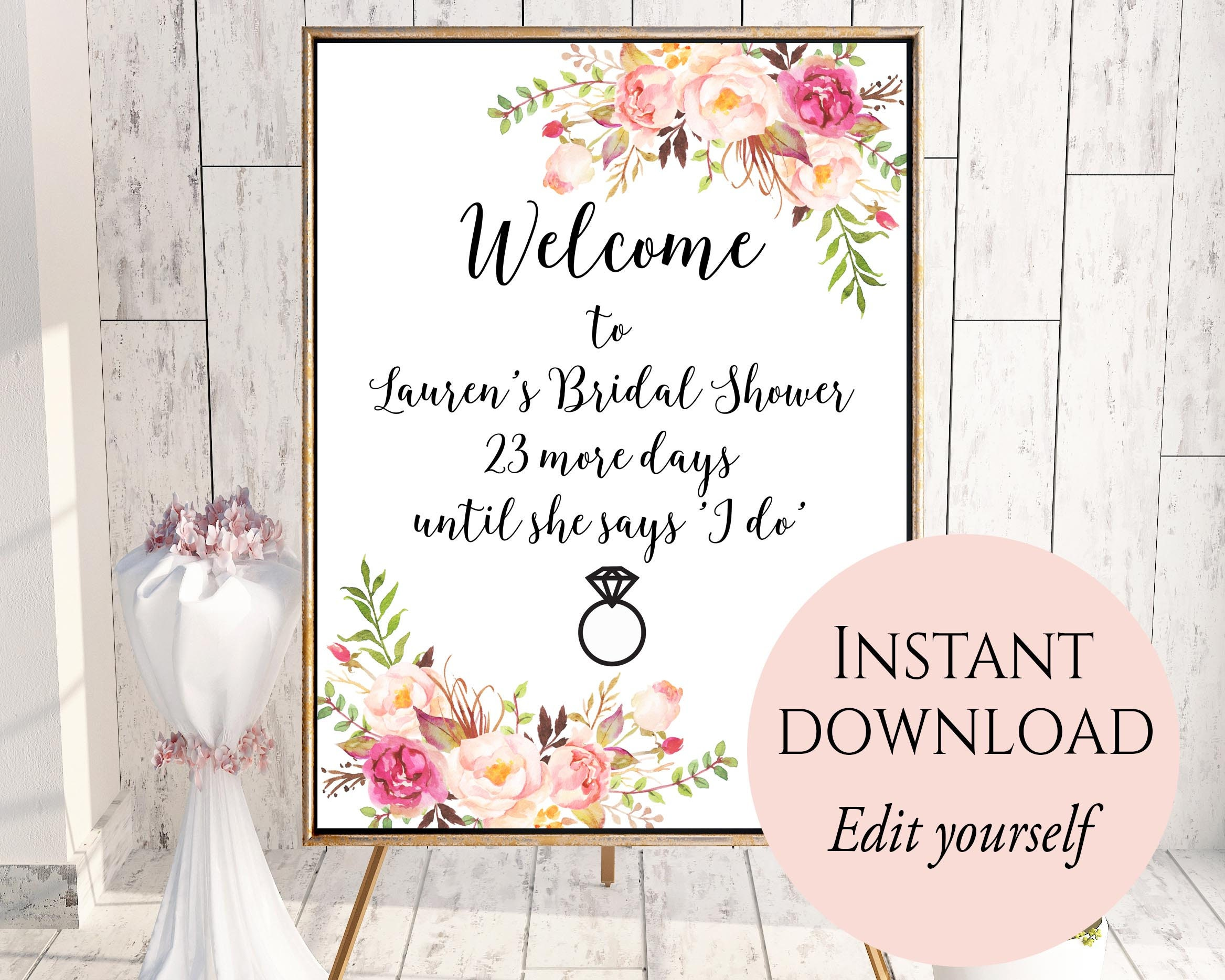 welcome sign template welcome bridal shower sign bridal. Black Bedroom Furniture Sets. Home Design Ideas