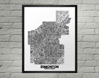 Edmonton Alberta Neighbourhood Typography City Map Print