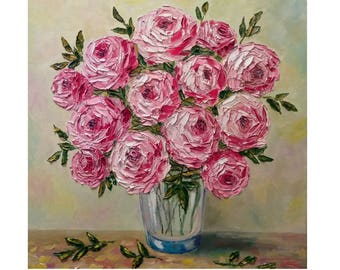 "Pink Peonies in a Glass Vase Original oil impasto painting on STRETCHED CANVAS 20"" X 20""  No.04-64 ready to hang"