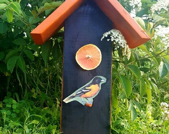 Oriole bird feeder, Bird feeder, Bird watching, Hanging oriole bird feeder, Double sided bird feeder, Orange bird feeder