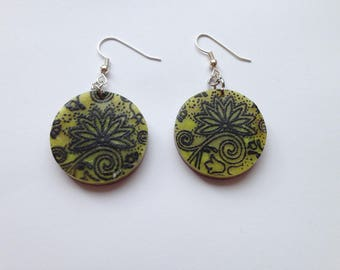 Green and black polymer clay earrings