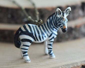 Hand Painted Porcelain African Zebra Necklace, Antique Bronze Chain, Vintage Style, Ceramic Animal Pendant & Chain (CA209)