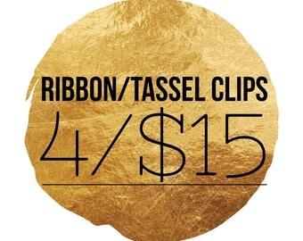 Paper Clip Set - Choose 4 for 15 - Planner Clips - Ribbon/Tassel Clips