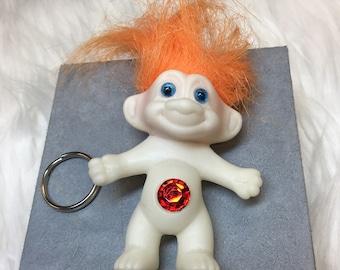 Vintage Deadstock NWOT Orange 90's Glow-in-the-Dark Treasure Troll Keychain