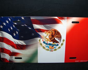 MEXICAN AMERICAN Flag Metal Novelty License Plate  Bandera MEXICANA