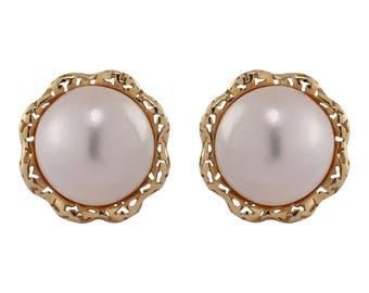 18K Yellow Gold Mobe Pearl Earrings, Clip-on Earrings, June Birthstone