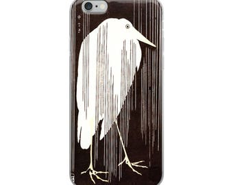 Japanese iPhone case, woodblock print of bird in rain, unique nature art, Asian design