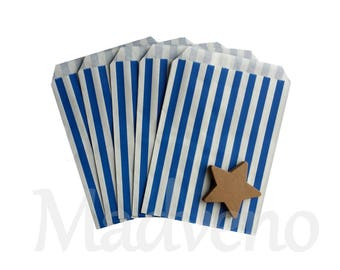 Set of 10 dark blue vertical stripes kraft paper bags