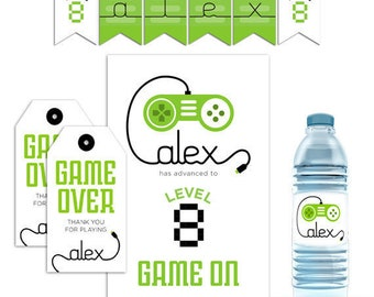 Video Game Decor, Video Game Party Decorations, Video Game Party Favors, Video Game Party Supplies Gamer Party Supplies Video Game Printable