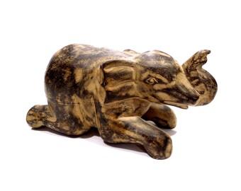 VINTAGE: Large Hand Carved Wood Elephant - Good Luck Sculpture - SKU 24-A-00008826