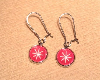Earrings cabochon 10 mm red Christmas star