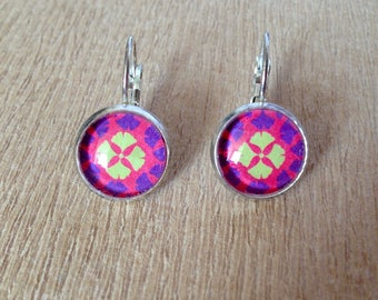 Earrings cabochon pink 12 mm