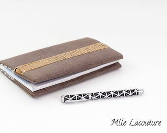 Faux leather checkbook and Japanese cotton fabric