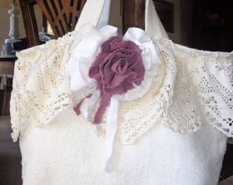 Shabby chic antique hemp tote bag, lace and pink linen