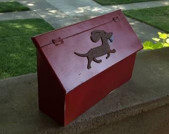 Wooden Mailbox with Dauchund Decor