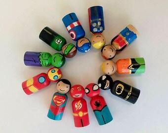 Superhero dolls - Super hero  dolls - Superhero peg dolls - Superheroes - Super hero toys - Gifts for boys - Superhero party favors - Toys