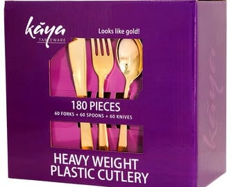 Kaya Collection - Plastic Silverware Set - Gold Cutlery - Disposable Flatware, 60 Forks, 60 Knives and 60 Spoons (180 Pieces)