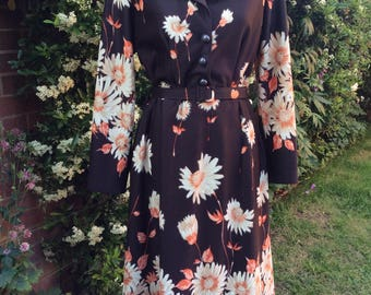 1970's Brown Bold Floral Print Dress by Spinney