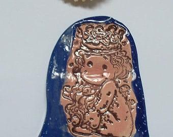 Princess girl ceramic plate handmade