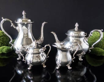 Vintage Silver Plate Du Barry Tea Set Coffee Service Set Wilcox IS