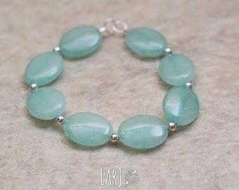 GREEN Natural Stone Hand-Beaded Elastic Bracelet