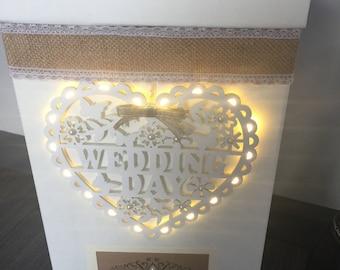"Wedding Card Post Box ""Wedding Day"" Heart with LED Lights Hessian Shabby"