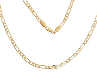 3:1 Gold Plate Figaro Chain, 22 Inches Long (2021)