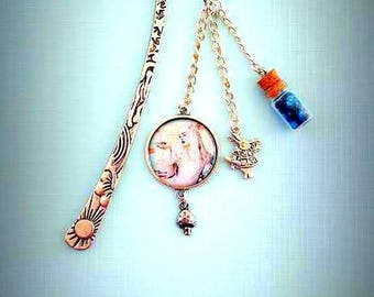 Bookmark Alice in Wonderland, silver and blue