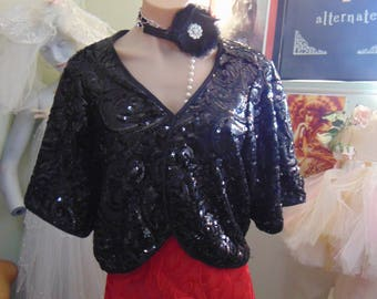 Beautiful Vintage 1940s Inspired Sequinned Shrug Bolero Evening Glamour sz 16-18