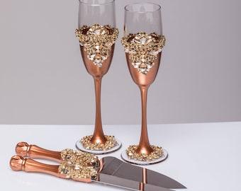 Wedding glasses and cake server set Champagne flutes bronze and gold wedding toasting glasses Cake cutting Champagne glasses, Set of4 bronze