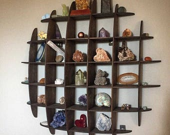 Geometric Shadowbox Crystal Shelf, Flat-Pack Curio Shelf, Modern Half Sphere Dome Display